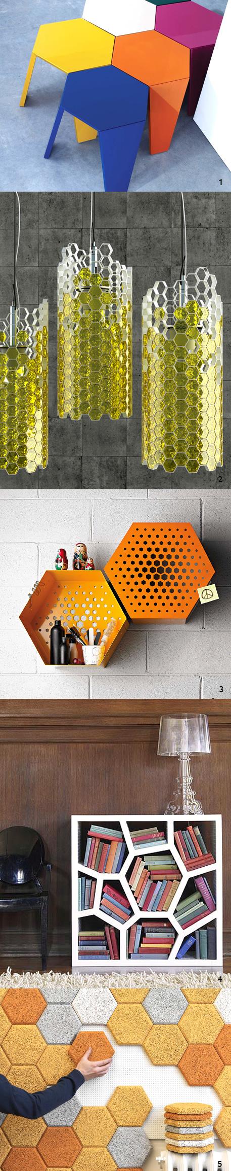 Objetos decorativos com desenho hexagonal